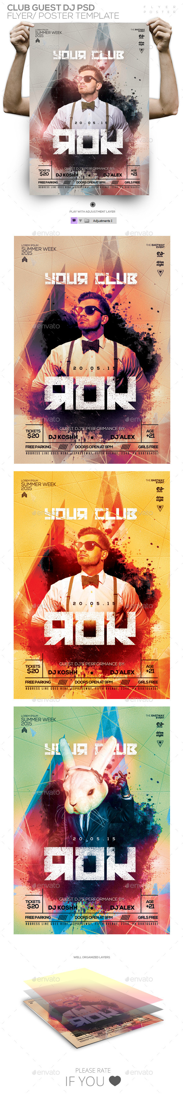GraphicRiver Club Guest Dj Flyer Template PSD Flyer Poster 11581092