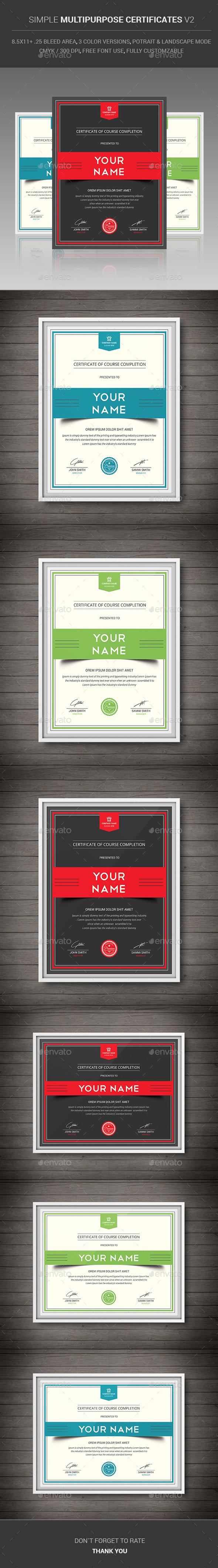 GraphicRiver Simple Multipurpose Certificates v2 11581171