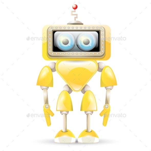 GraphicRiver Orange Cartoon Robot Isolated On White 11581233