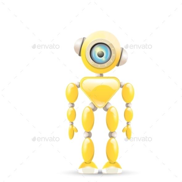 GraphicRiver Orange Cartoon Robot Isolated On White 11581247
