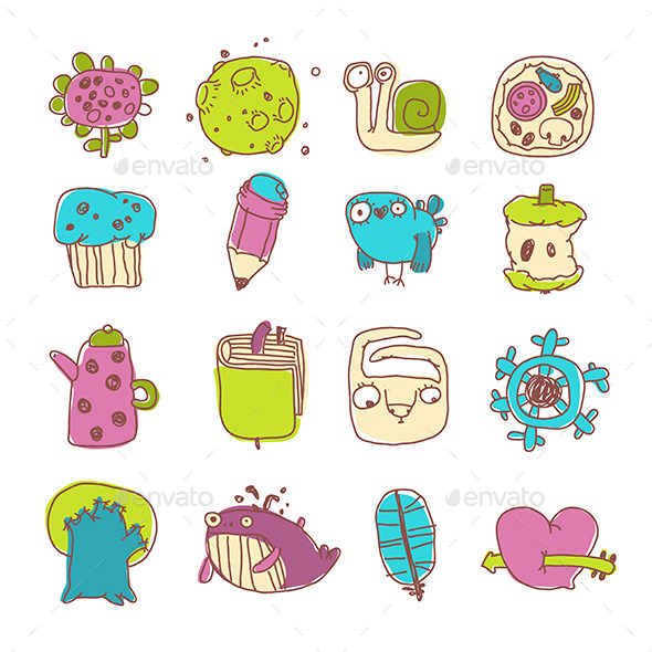 GraphicRiver Vector Icons Set of Cartoon Objects and Characters 11581591