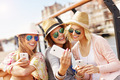 Group of friends taking selfie in the city - PhotoDune Item for Sale