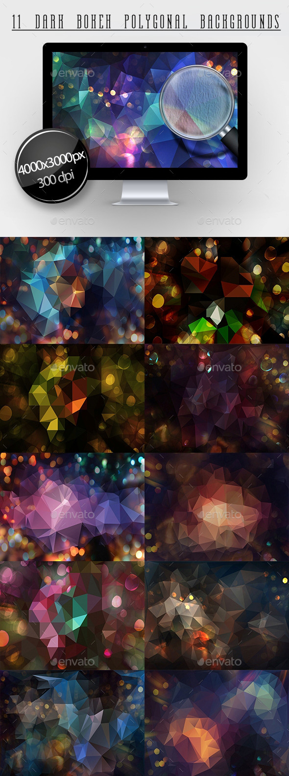 GraphicRiver 11 Dark Bokeh Polygonaln Backgrounds 11553704