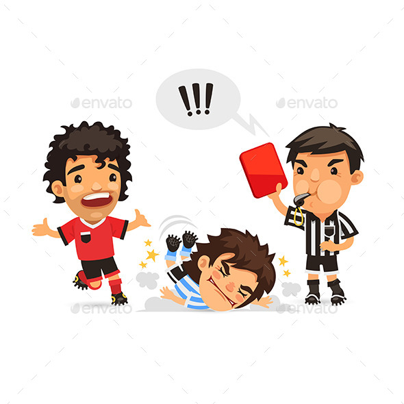 GraphicRiver Soccer Player Tackle Foul and Referee 11572235