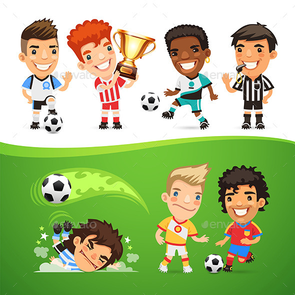 GraphicRiver Cartoon Soccer Players and Referee 11572227