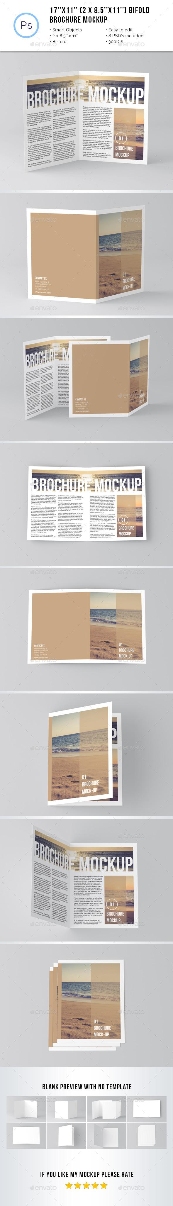 GraphicRiver 17 x 11 Bi-Fold Brochure Mockup 11582217