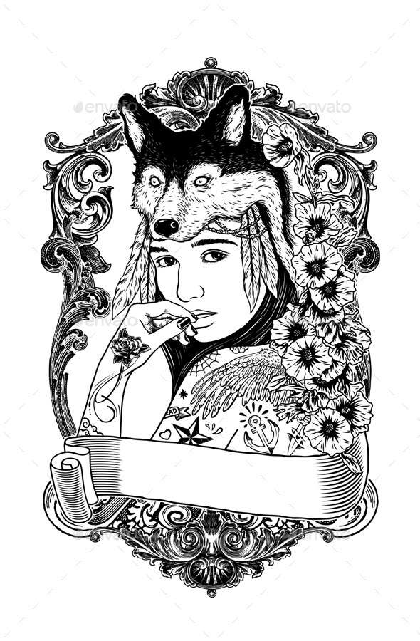 GraphicRiver Lonely Woman with Wolf Headdress 11582586