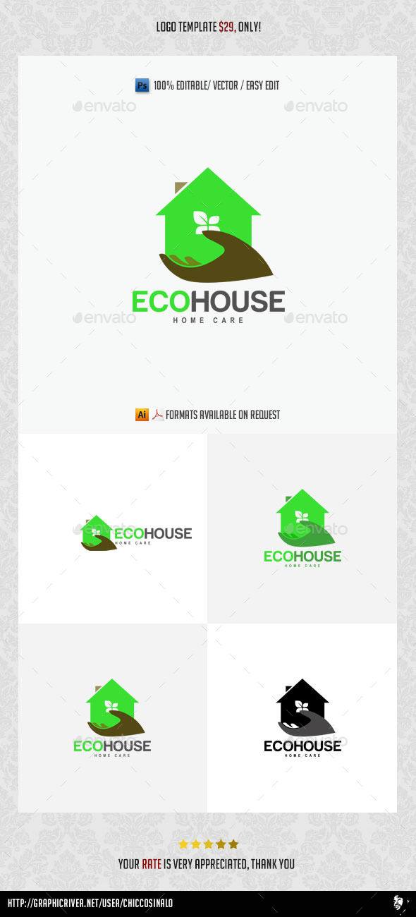 GraphicRiver Eco House Logo Template 11582644