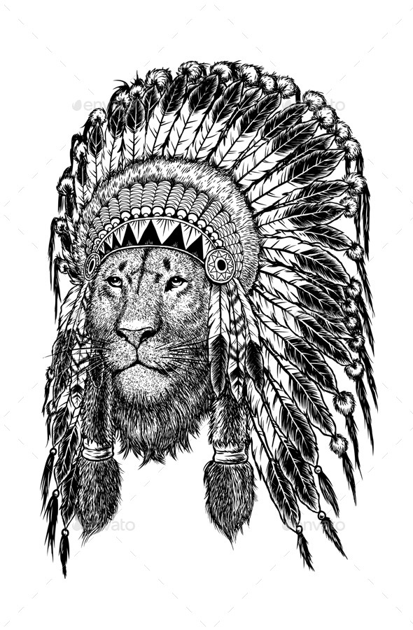 GraphicRiver Lion Wearing Indian Headdress 11582646