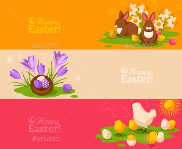 GraphicRiver Vintage Happy Easter Banners Set 11582779