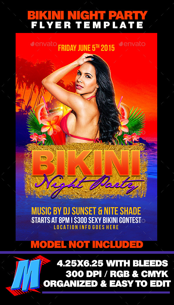 GraphicRiver Bikini Night Party Flyer Template 11582828