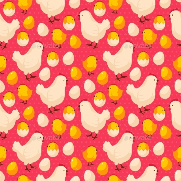 GraphicRiver Easter Seamless Pattern with Chicks and Hens 11582830