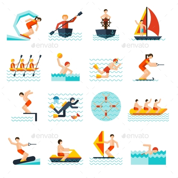 GraphicRiver Water Sports Icons Set 11583658