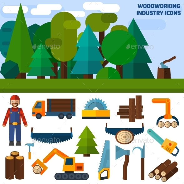 GraphicRiver Woodworking Industry Icons 11583659