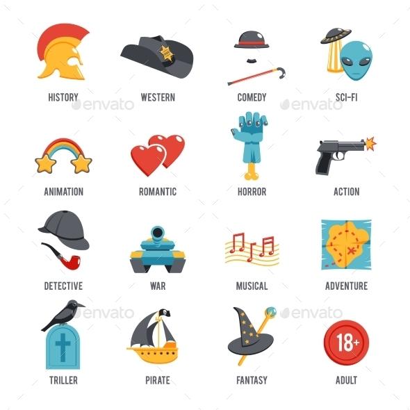 GraphicRiver Film Genres Icon Set 11583664
