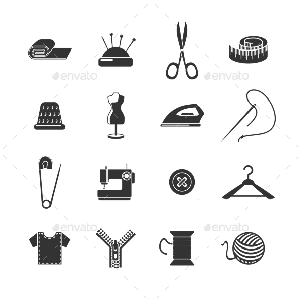 GraphicRiver Sewing Icon Black Set 11583667