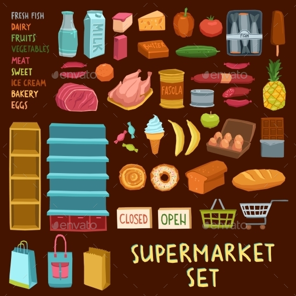 GraphicRiver Supermarket Icon Set 11583721