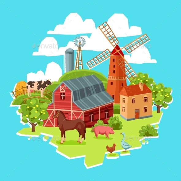 GraphicRiver Farm Multicolored Concept 11583725