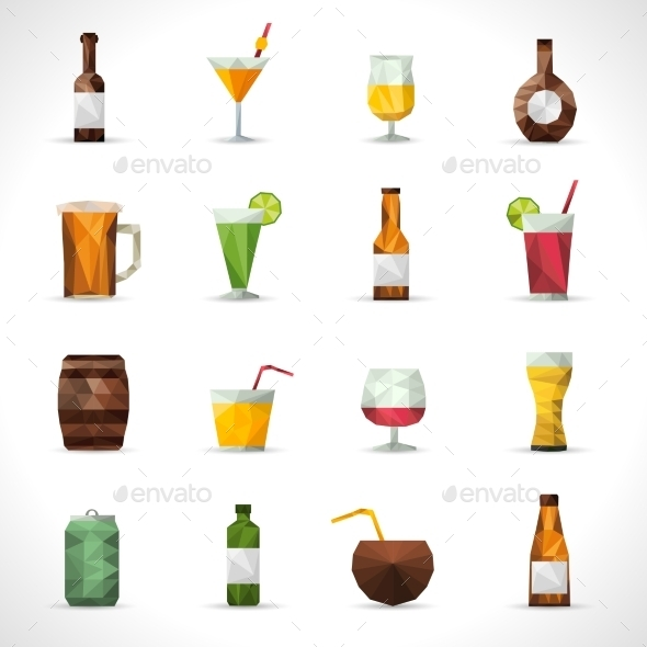 GraphicRiver Alcohol Drinks Polygonal Icons 11583729