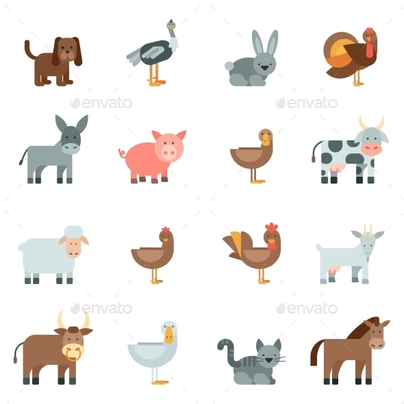 GraphicRiver Domestic Animal Flat Icons Set 11583739