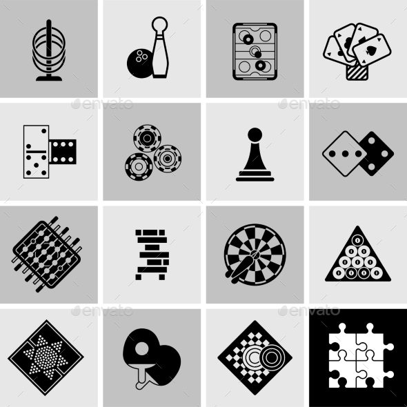 GraphicRiver Games Black Icons Set 11583745