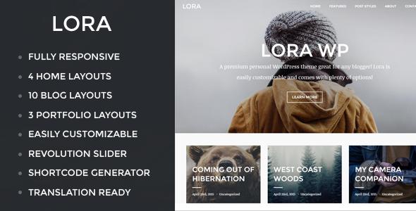 Lora - Responsive WordPress Blog & Portfolio Theme