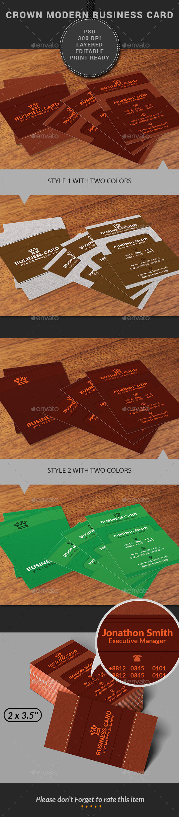 GraphicRiver Crown Modern Business Card 11584103