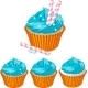 Blue Cream Cupcake  - GraphicRiver Item for Sale