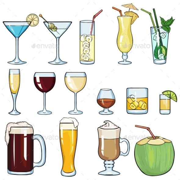 GraphicRiver Set of Cartoon Cocktails and Alcohol Drinks 11585138