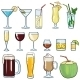 Set of Cartoon Cocktails and Alcohol Drinks - GraphicRiver Item for Sale