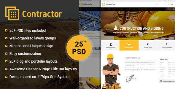 ThemeForest Contractor Construction Building Company PSD 11540232