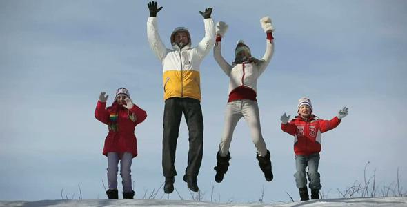 Cheerful family jump