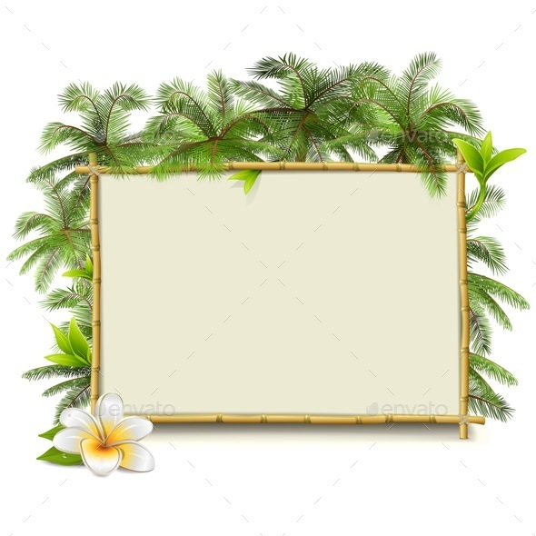 GraphicRiver Vector Bamboo Frame with Palm 11587050