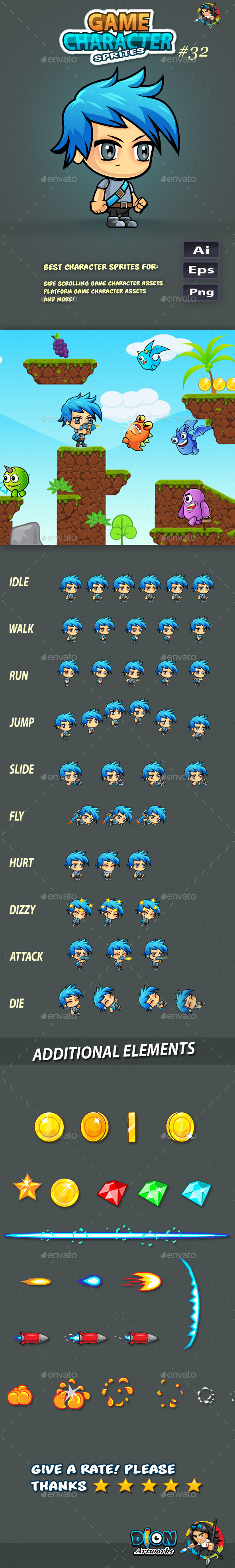 GraphicRiver 2D Game Character Sprites 32 11587292