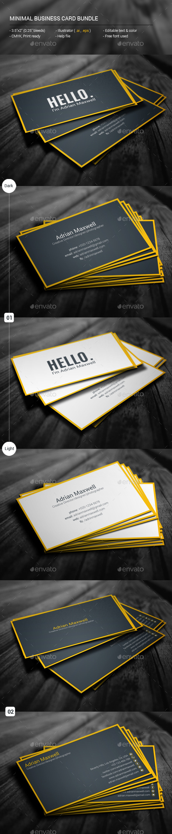 GraphicRiver Minimal Business Card Bundle 11587308
