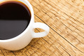 Cup of black coffee on old wooden table - view from top - PhotoDune Item for Sale