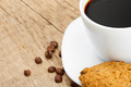 Cup of black coffee with cookies on old wooden table - PhotoDune Item for Sale