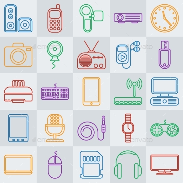 GraphicRiver Gadgets Line Icon Set 11587672