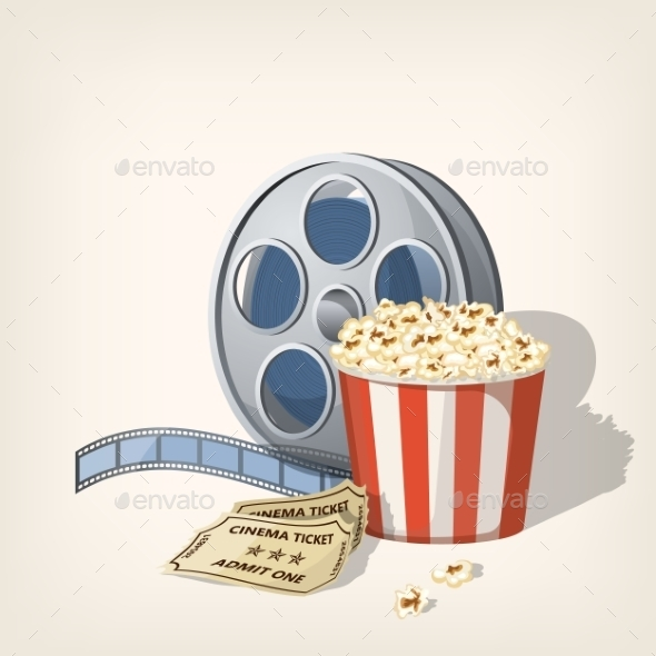 GraphicRiver Popcorn Box with Film Strip and Tickets 11587675