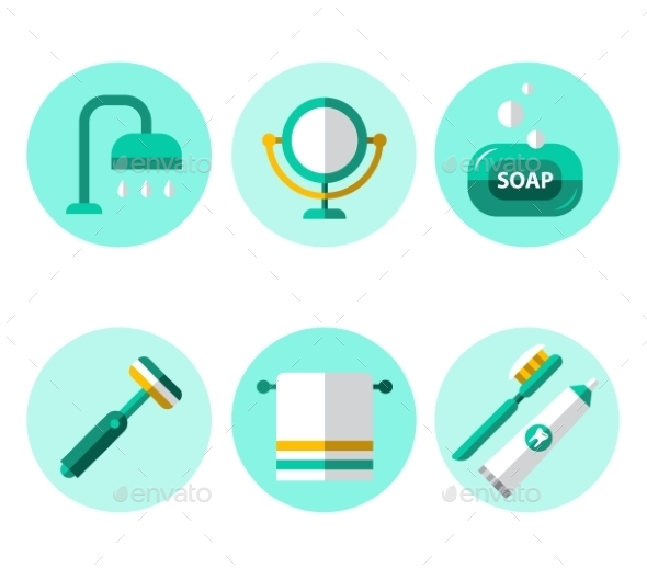GraphicRiver Hygiene Icons Flat Set 11588132