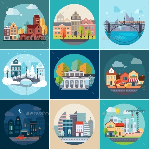 GraphicRiver Set of Different Landscapes 11588147