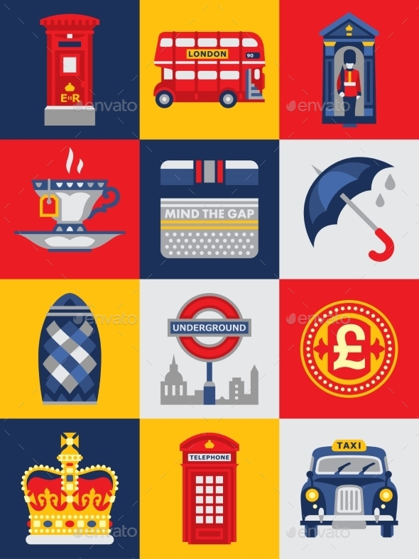 GraphicRiver Flat Style Poster with London Symbols 11588165