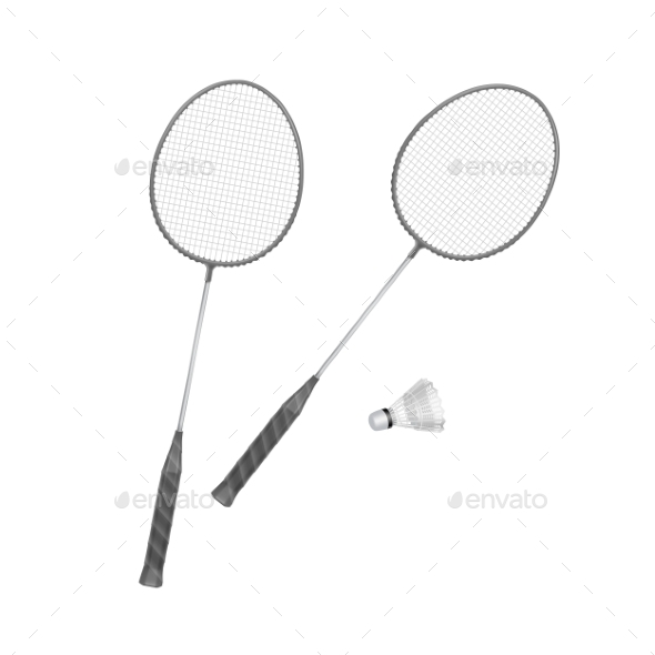 GraphicRiver Badminton Rackets with Shuttlecock 11588404