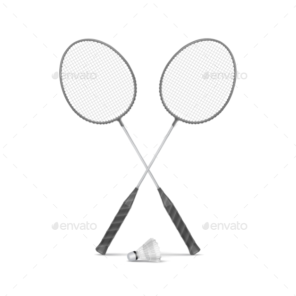 GraphicRiver Badminton Rackets with Shuttlecock 11588407