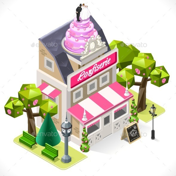 GraphicRiver Pastry Shop City Building 3D Isometric 11588826