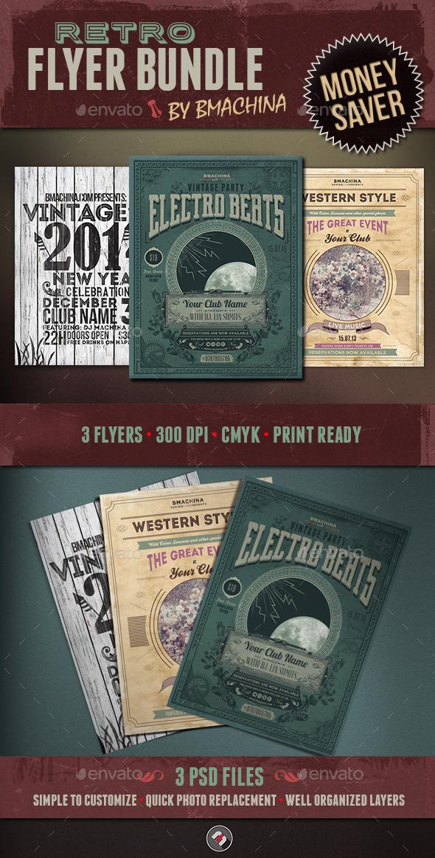 GraphicRiver Retro Flyer Bundle 11588897