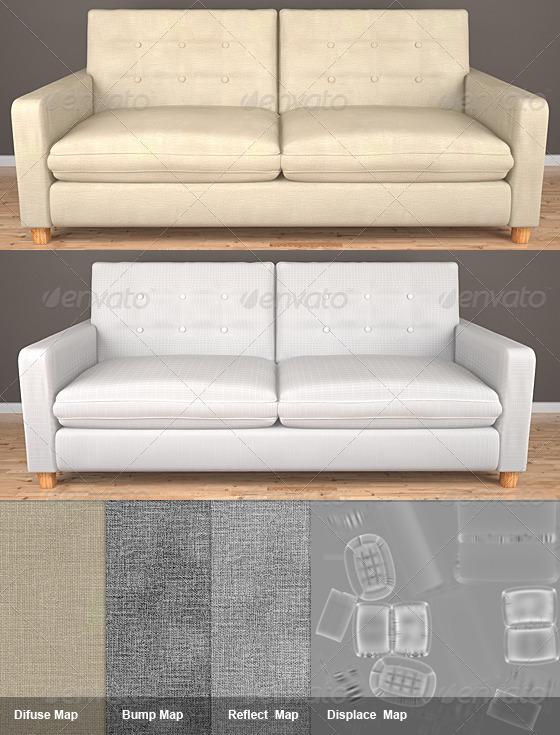 3DOcean 2 Seat HQ Sofa 140102