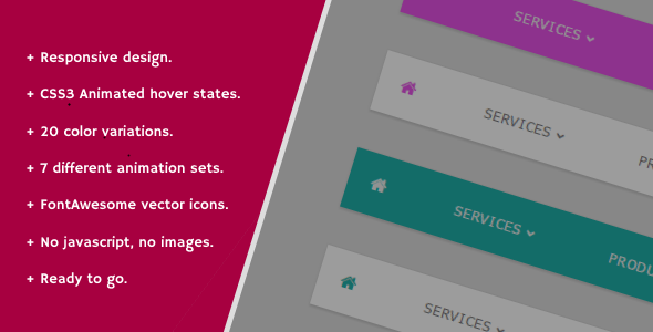 CodeCanyon Responsive Animated CSS3 Nav Menu 11170485