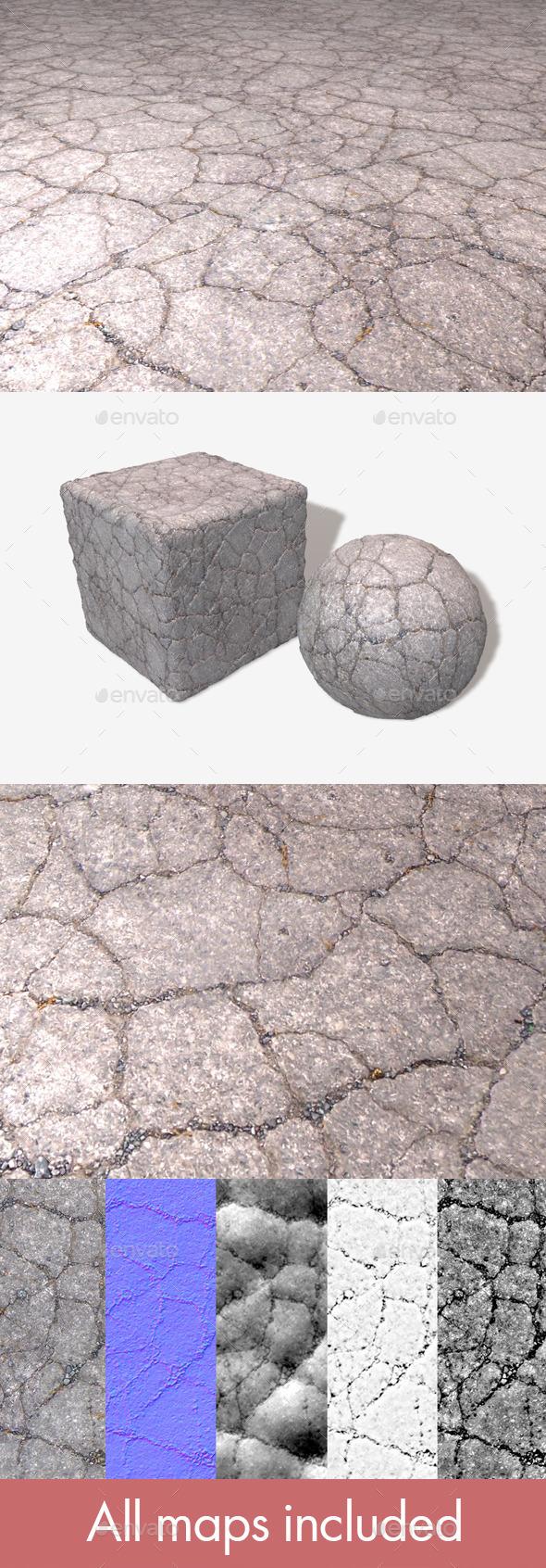 3DOcean Cracked Tarmac Seamless Texture 11589185