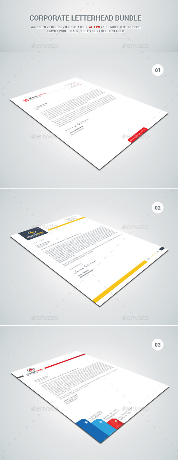 GraphicRiver Corporate Letterhead Bundle 11480141